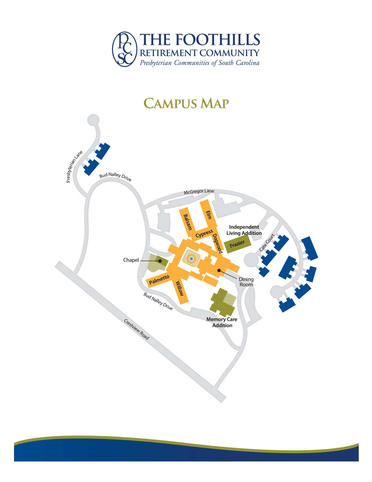 Campus map of The Foothills Presbyterian Community in Easley