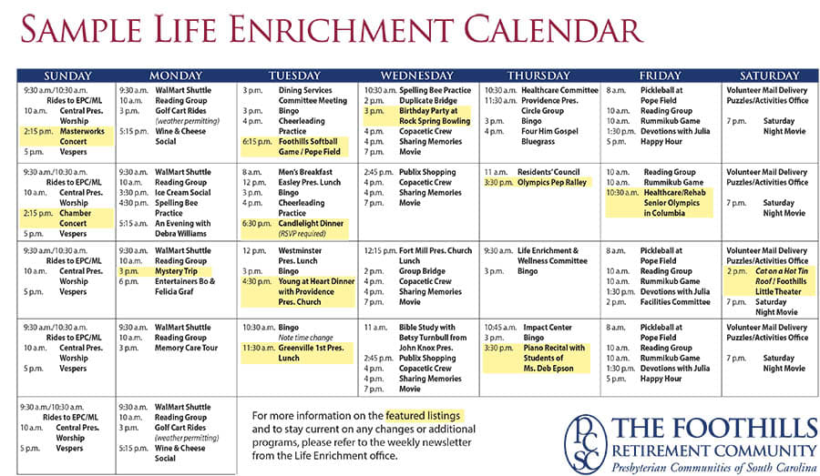 Activity  Event Calendar At The Foothills Presbyterian Community