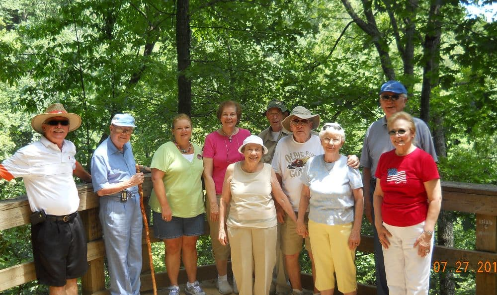 elder group in walking activity at The Foothills Presbyterian Community in Easley, SC