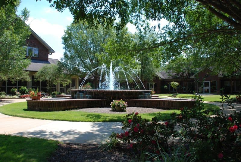 beautiful fountain at The Foothills Presbyterian Community in Easley, SC