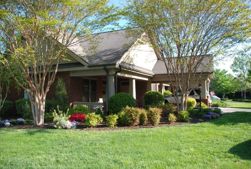 homes side garden patio at The Foothills Presbyterian Community in Easley, SC
