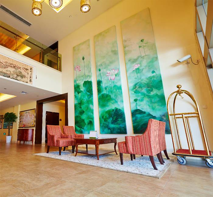 Relax in our welcoming lobby at the senior living community in Xuhui