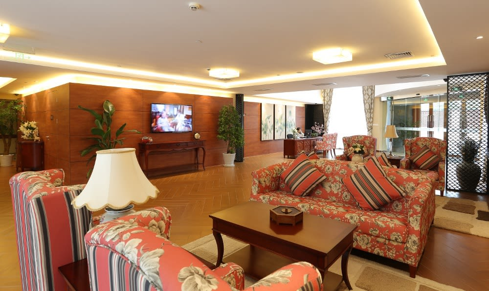 Our senior care facility's welcoming lobby in China