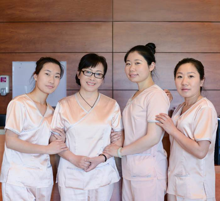 Medical staff at the senior community in China