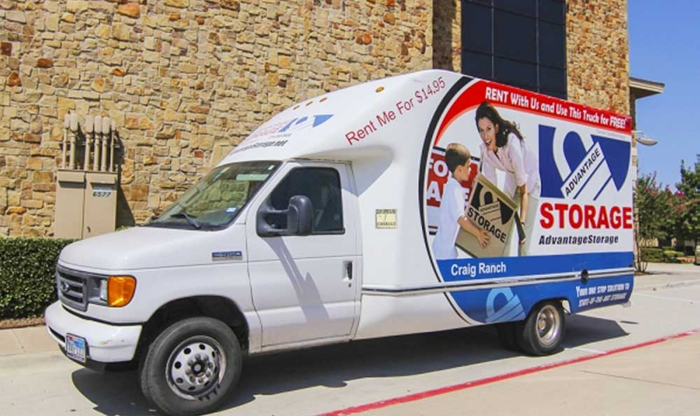 Moving truck available for rental at Advantage Storage - McKinney Craig Ranch