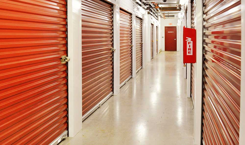 Well lit hallways at Advantage Storage - McKinney Craig Ranch.