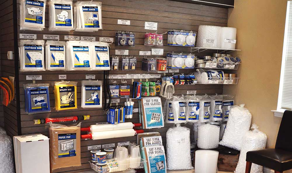 We sell moving supplies at Advantage Storage - Rowlett.