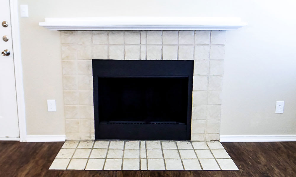 In-home fireplace at Creekside Apartments