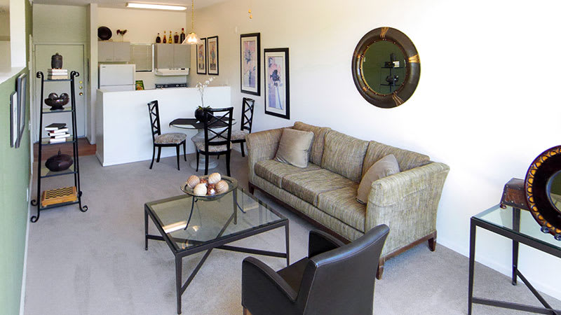 Living room in apartments at Lofts on Hulen