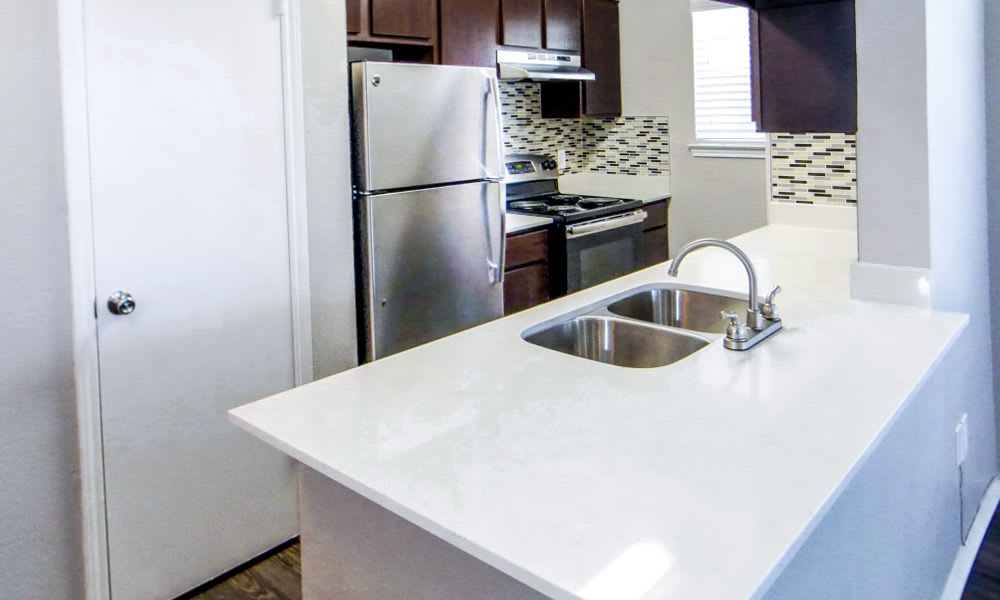 Fully equipped kitchen in apartments at Eagle's Point Apartments