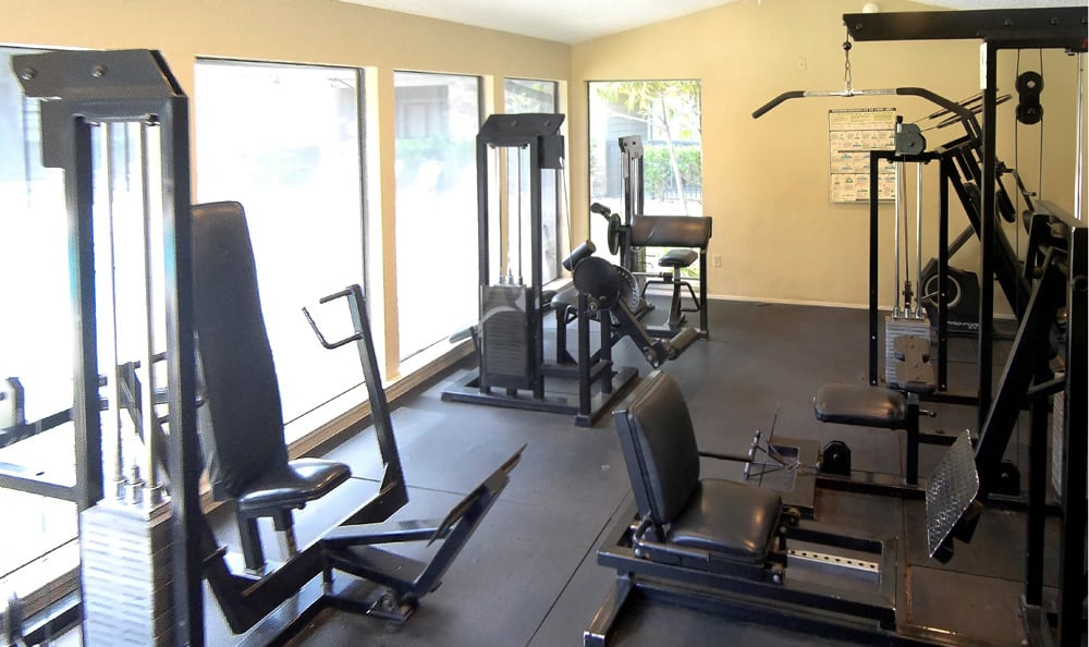 Fitness center at Cambury Place Apartments in Houston