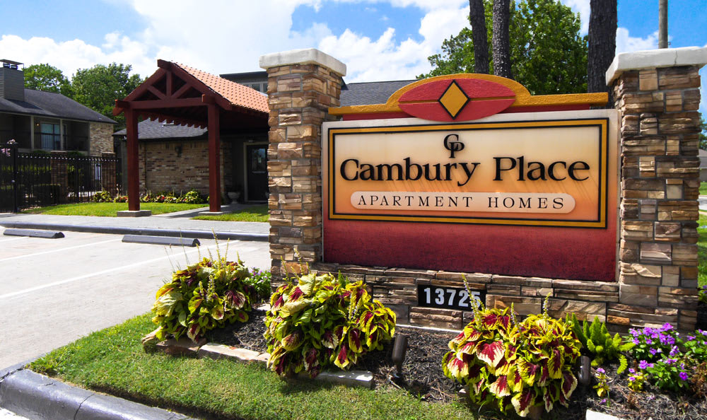 Entrance Sign at Cambury Place Apartments in Houston
