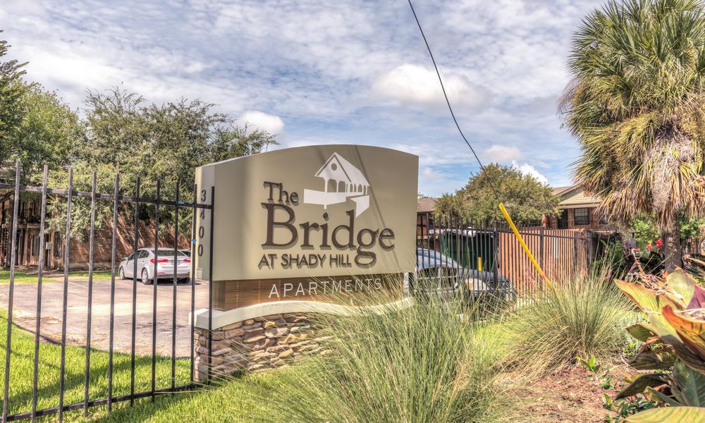 Entrance Sign at The Bridge at Shady Hill in Baytown, TX