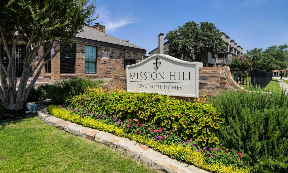 Entrance Sign at Mission Hill in Fort Worth, TX