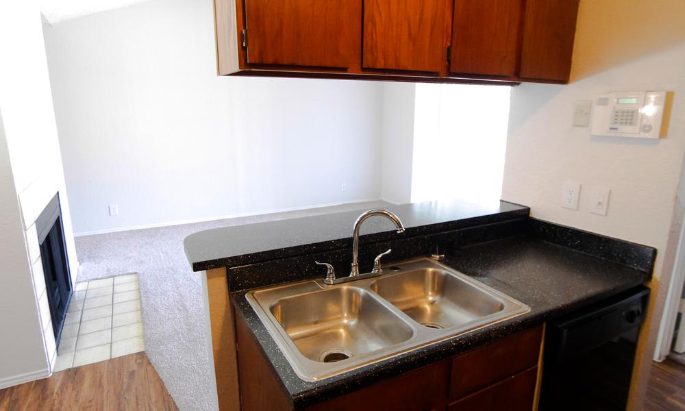 Stainless-steel appliances at apartments in Fort Worth, TX