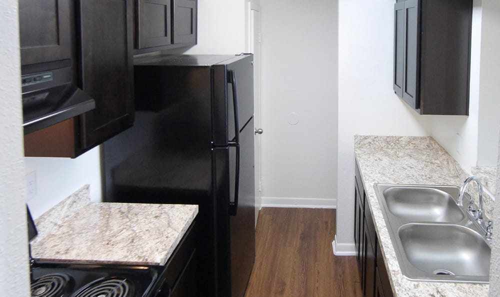 Kitchen at apartments at Newport at Clear Lake