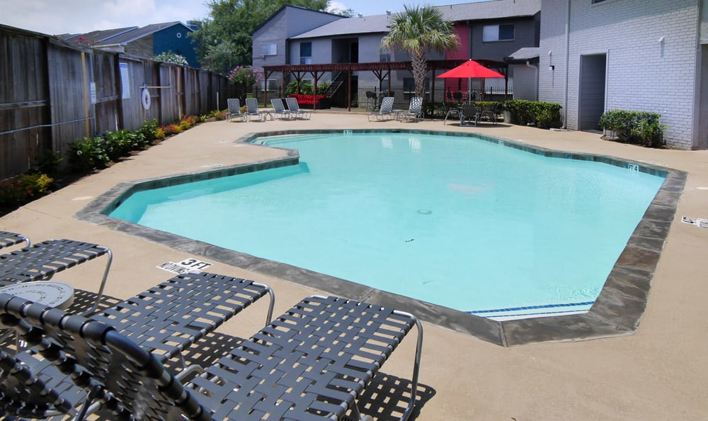 Sparkling pool at apartments in Houston