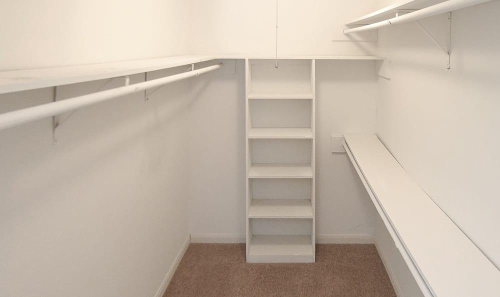 Walk-in closet at apartments in Newport at Clear Lake