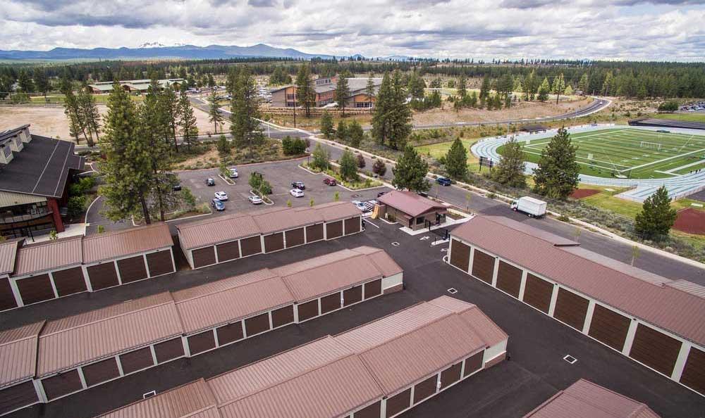 Aerial view of Northwest Crossing Self Storage in Bend, OR