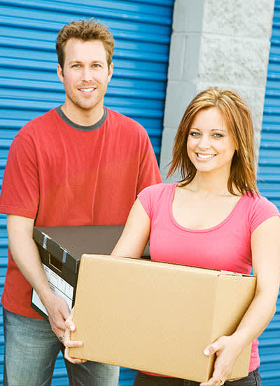 young couple storing their belongings at Euclid Self Storage