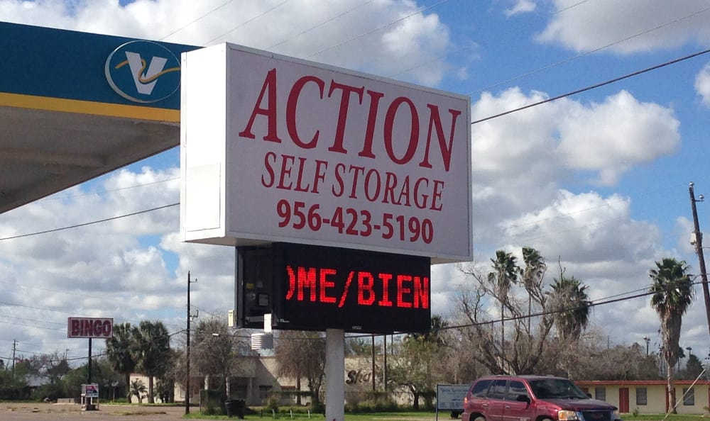 Entrance sign at Action Self Storage