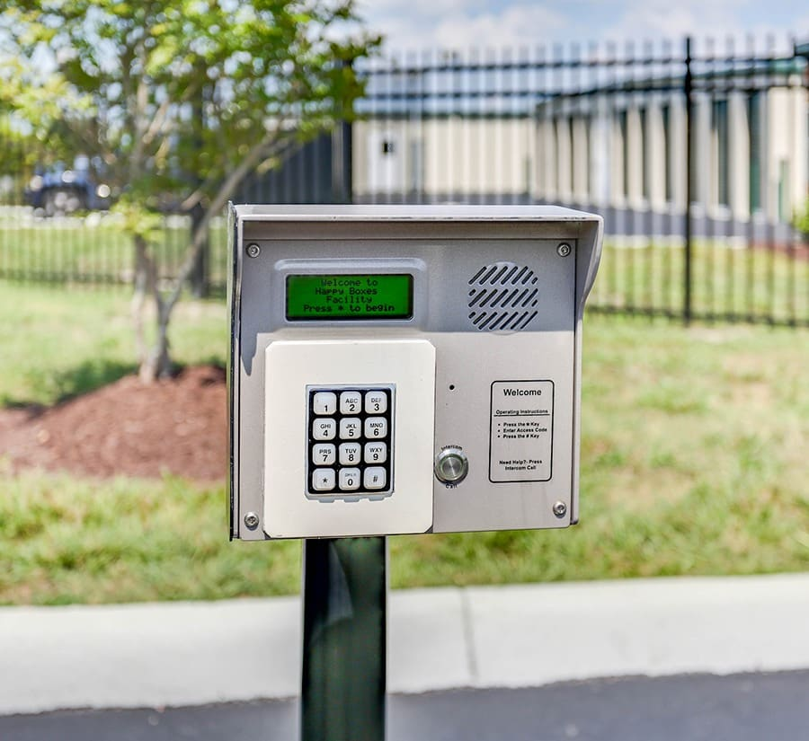 Access keypad at Happy Boxes Self Storage in Portsmouth, Virginia