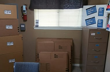 Moving supplies for sale in the office at Lonestar Self Storage