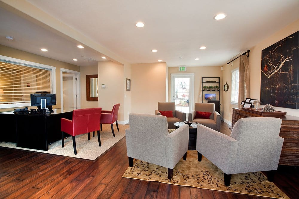 Clubhouse seating at The Addison Apartments