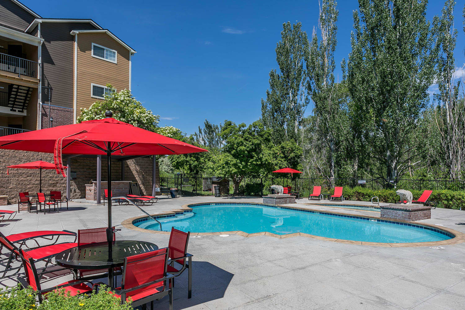 Pool view with umbrellas and tables, lounges at The Crossings at Bear Creek Apartments