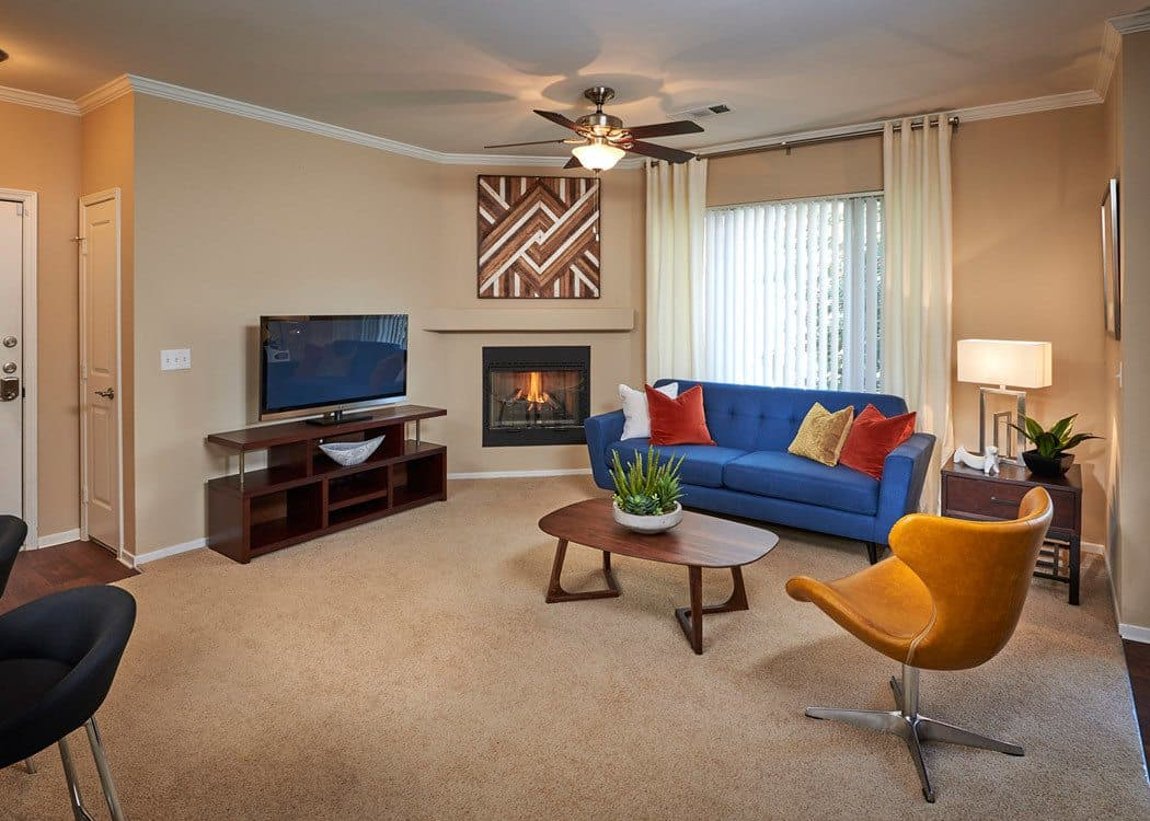 Living room at Legend Oaks Apartments