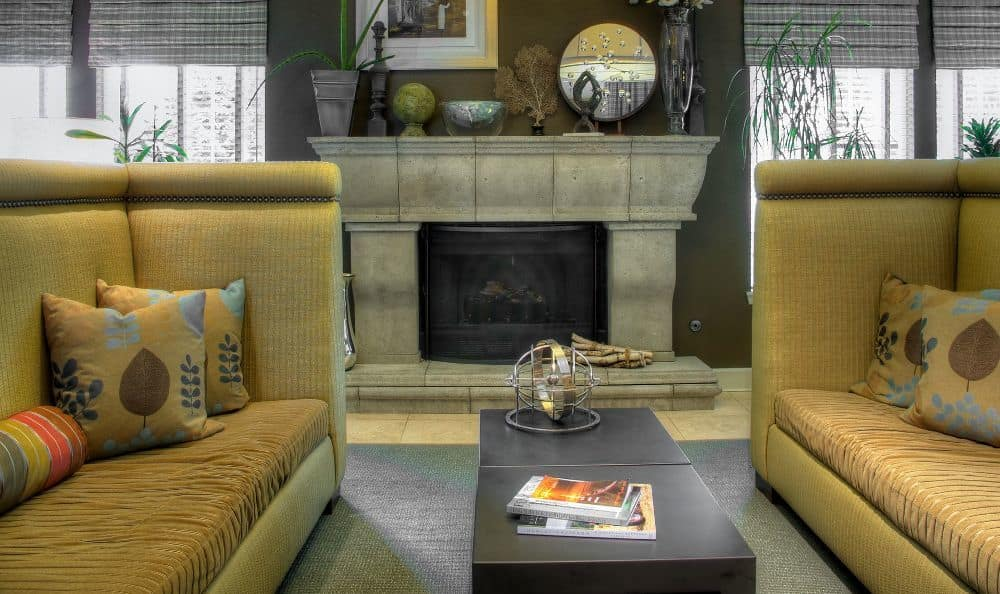 Office fireplace at Newport Crossing Apartments