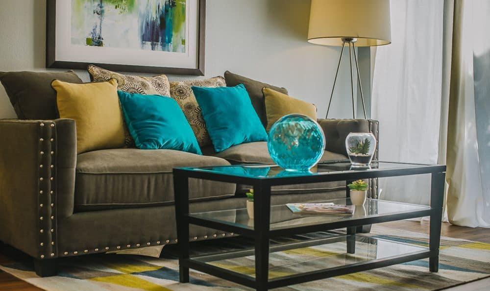 Living room model at Newport Crossing Apartments