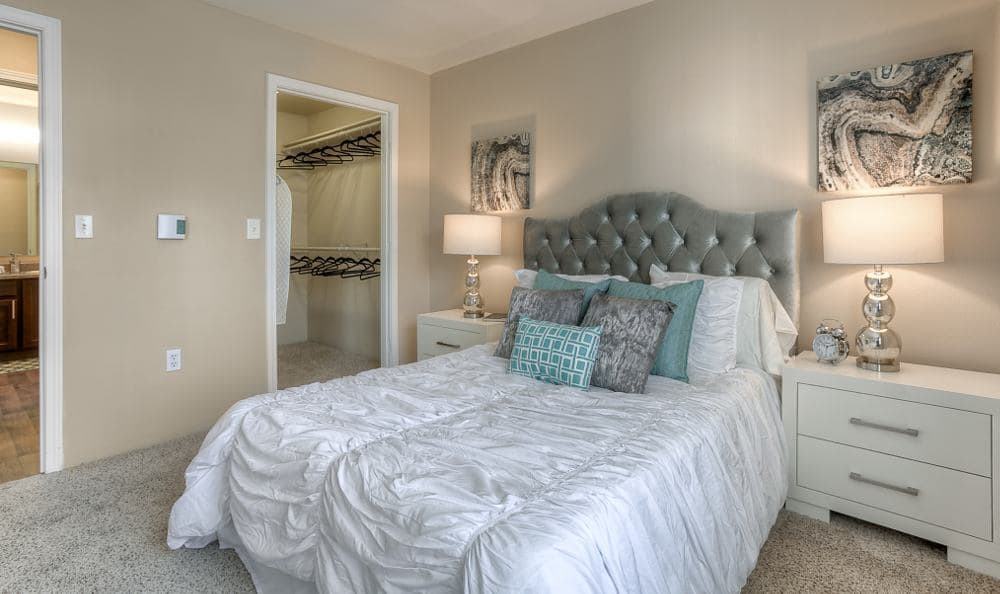 Well decorated bedroom at Pebble Cove Apartments in Renton