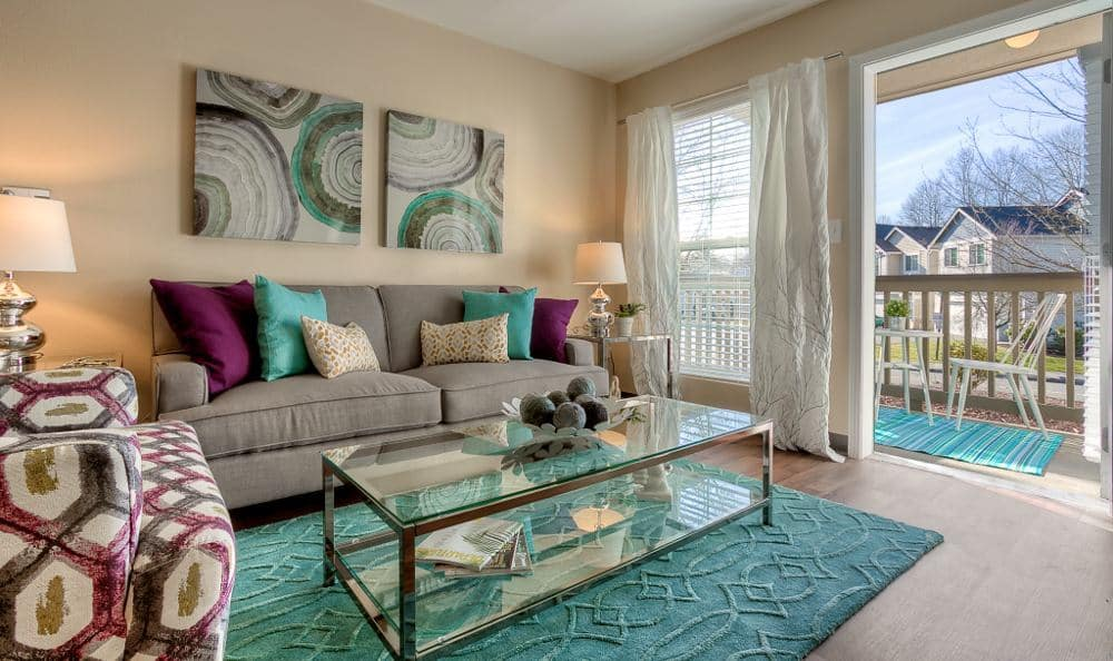 Living room at Pebble Cove Apartments in Renton