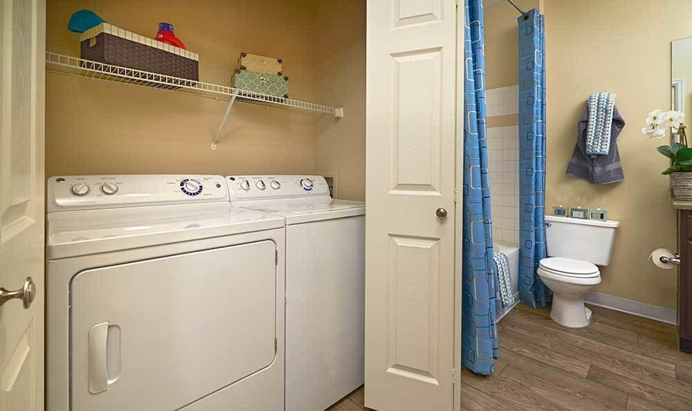 Do your laundry while taking a shower at Skyecrest Apartments.