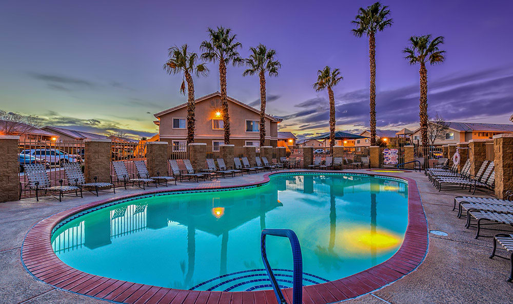 Pool at dusk at Portola Del Sol in Las Vegas