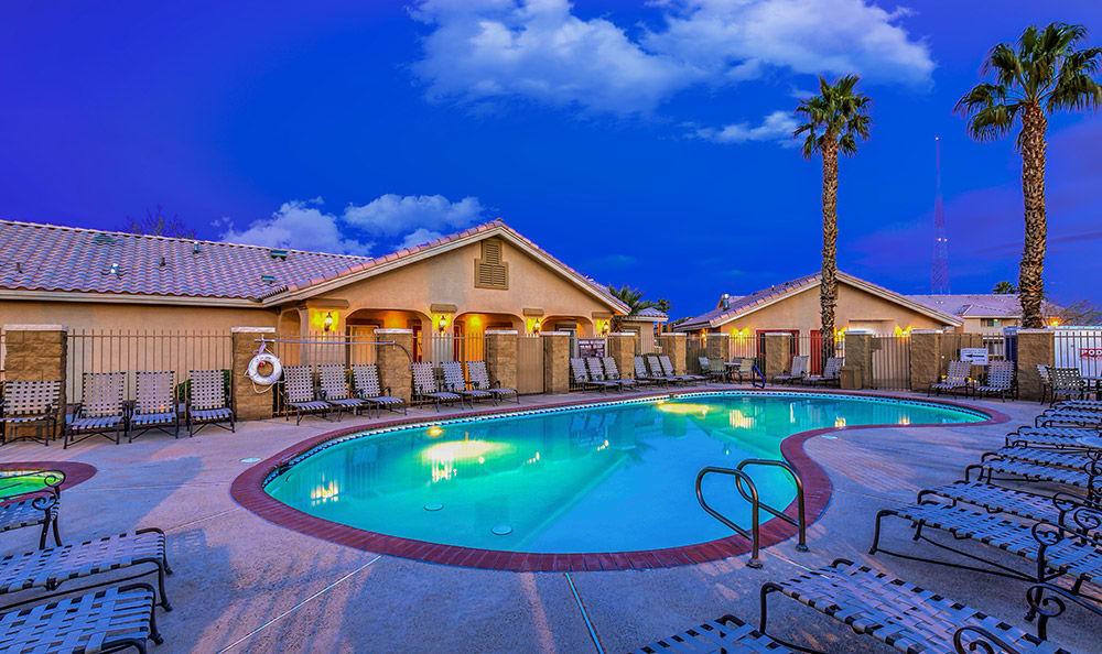 Evening view of the pool at Portola Del Sol