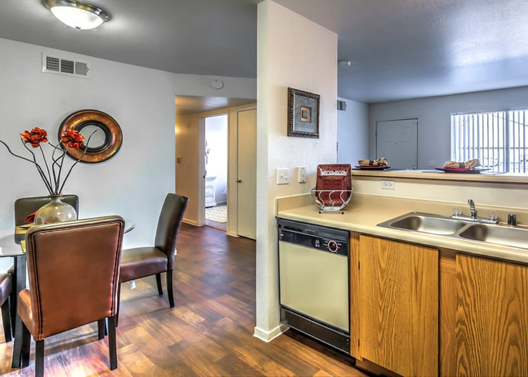 View of the living area from the kitchen at Portola Del Sol apartment in Las Vegas