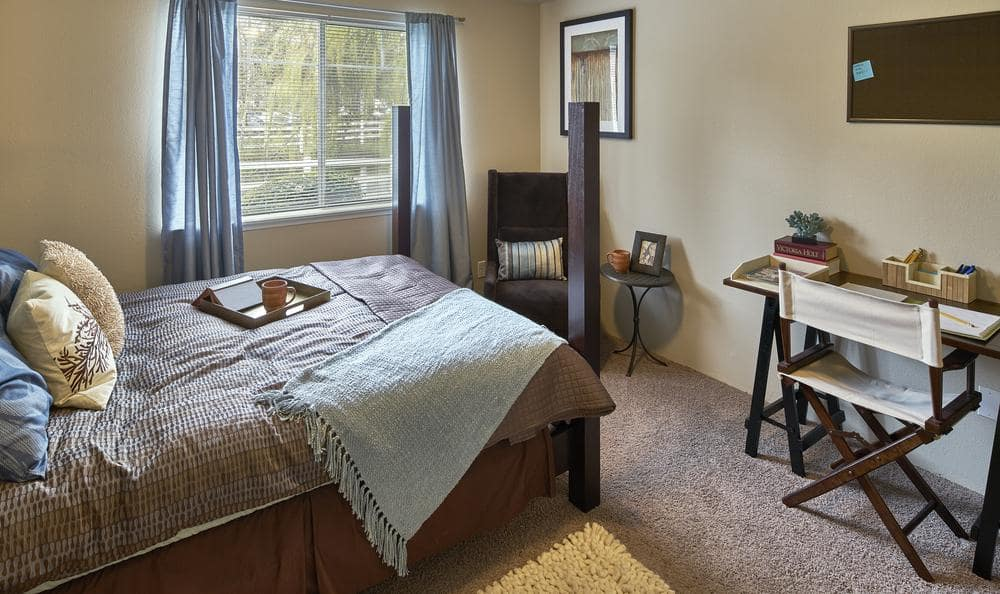 Comfortable bedroom at Olin Fields Apartments