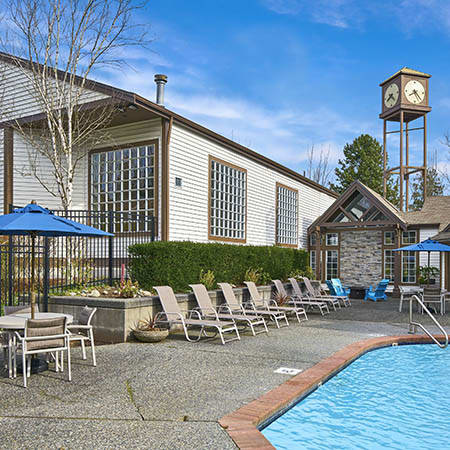 Refreshing swimming pool at Olin Fields Apartments in Everett