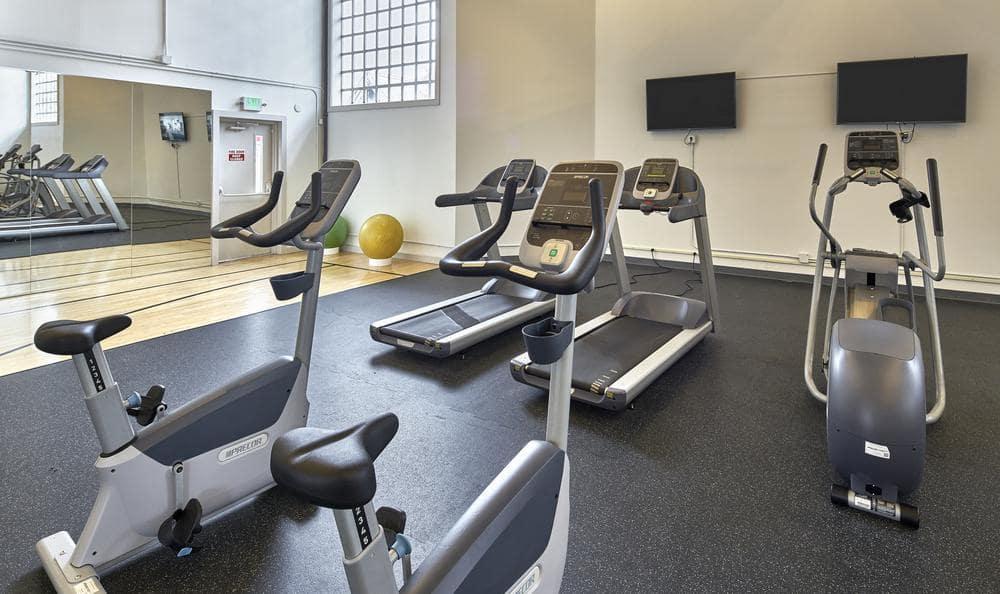 Fully equipped gym at Olin Fields Apartments for our residents