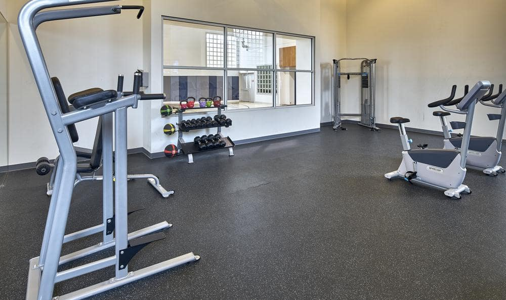Fully equipped gym at Olin Fields Apartments