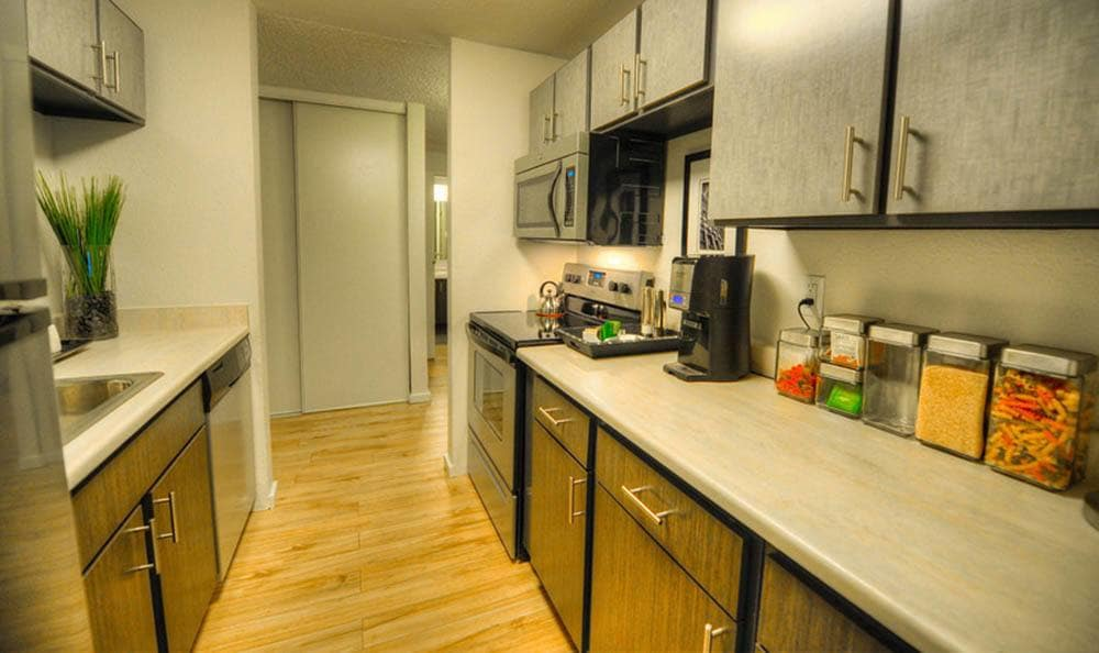 fully equipped kitchens at Karbon Apartments