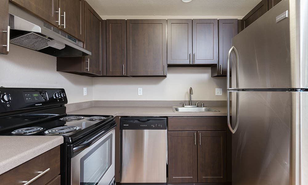 Fully Equipt Kitchen At Meadows at Cascade Park Apartments