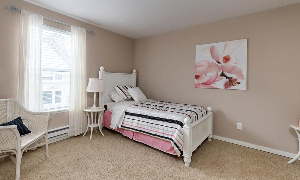 Well decorated bedroom at Meadows at Cascade Park Apartments in Vancouver,WA