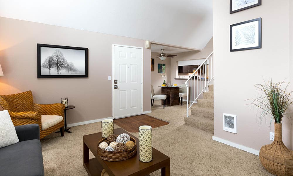 Living room at Meadows at Cascade Park Apartments