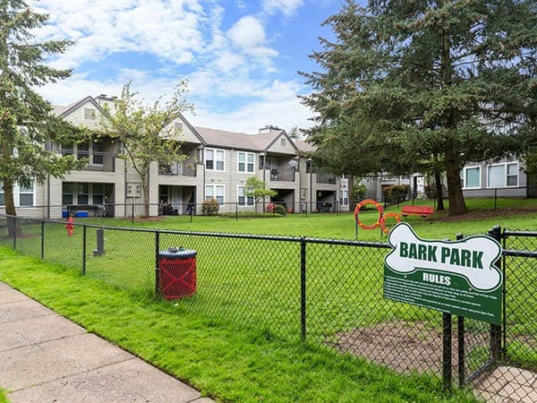 Off-leash dog park at Meadows at Cascade Park Apartments in Vancouver