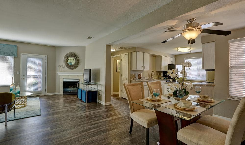 Lounge and Fully Equipt Kitchen at Villas at Homestead Apartments