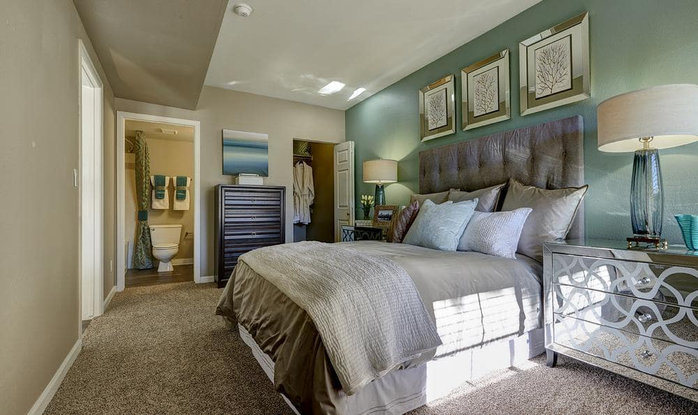 Comfy bed at Villas at Homestead Apartments
