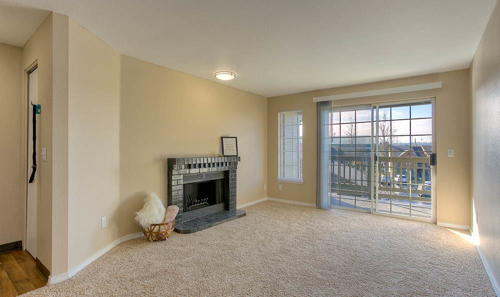 Apartment Living Room With Fireplace
